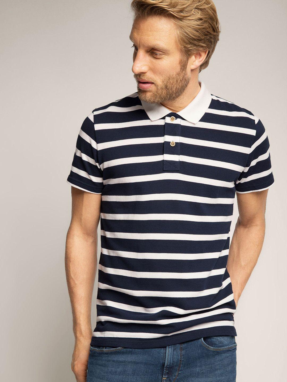 e8ea2b54b17 ESPRIT Navy Blue & White Striped Polo Collar T-shirt | Men's T-Shirt ...