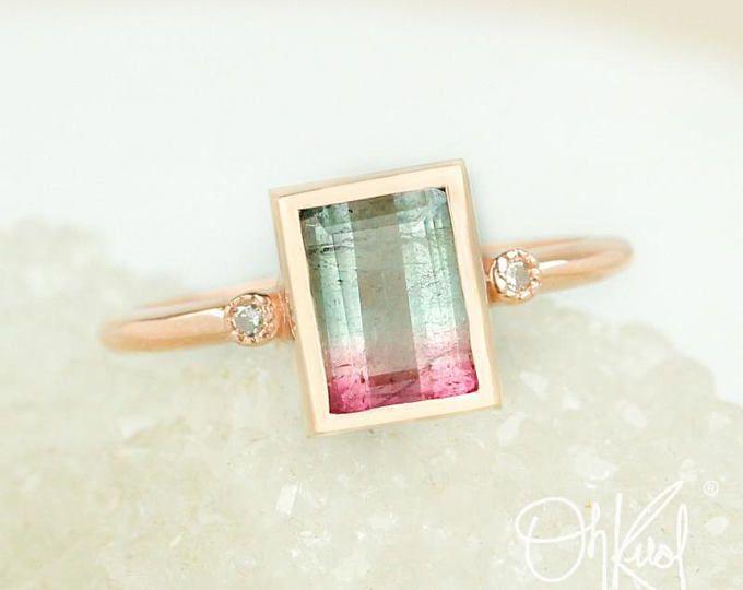 Watermelon tourmaline emerald cut ring