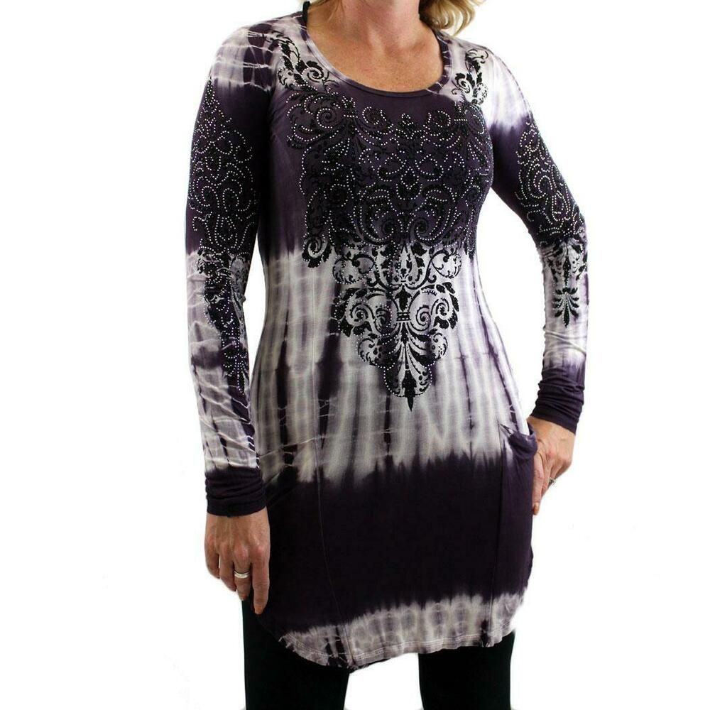 Womens Vocal Purple Tie Dye Tunic Top Long Sleeve with Floral Detail Design