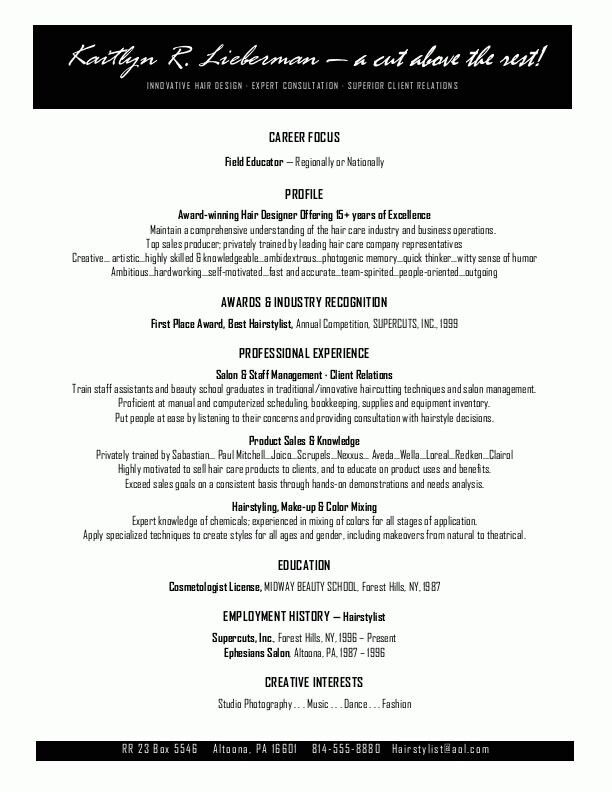 Resume Template for Hairdresser | Work-Job Search/ Interviewing Tips ...