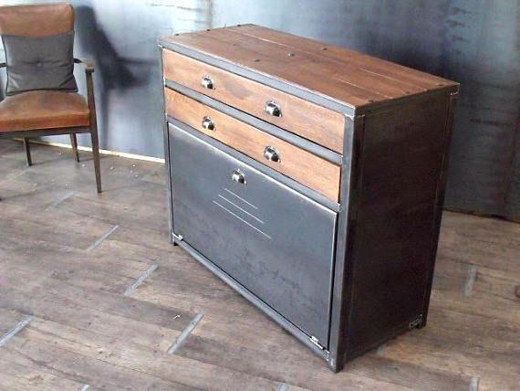 Meuble D Entree En Bois Et Metal Mobilier Design Alternative Furniture Industrial Furniture Vintage Industrial Furniture