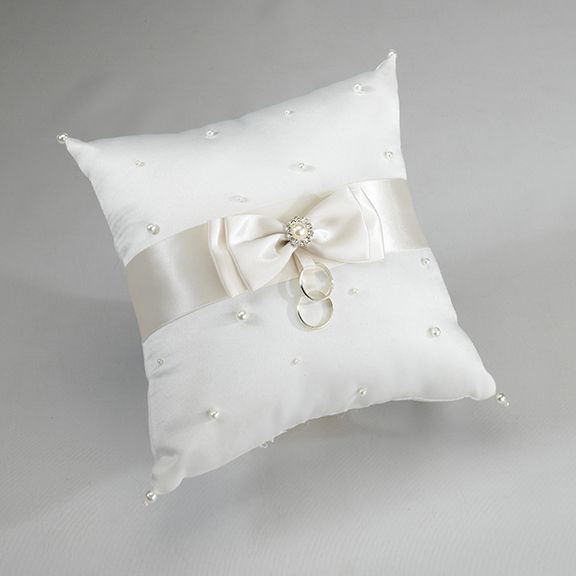 Ivory Wedding Ring Pillow With Satin Ribbon Bow And A Scattering Of Pearls GBP1799