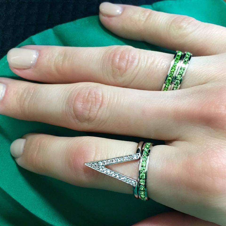 Swarovski Crystal Eternity Ring | Peridot Green