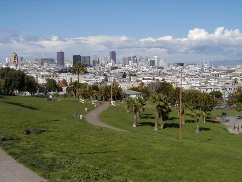 Dolores Park, San Francisco.   Look at that view!  Contrary to common belief, they did not name Dolores Park after me, nor the street nor the mission.