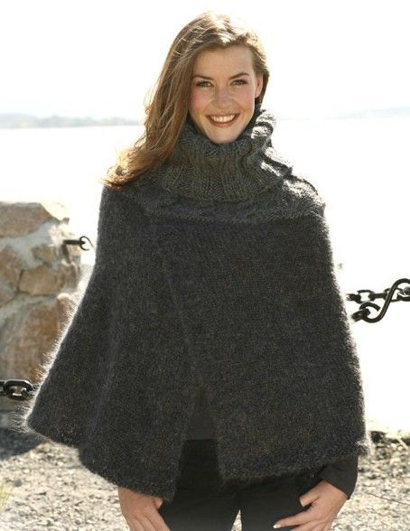 Hand knitted poncho capeavailable in other color and yarn quality ladies poncho knitting pattern with high neck and cables in drops vienna and eskimo free knitting pattern dt1010fo