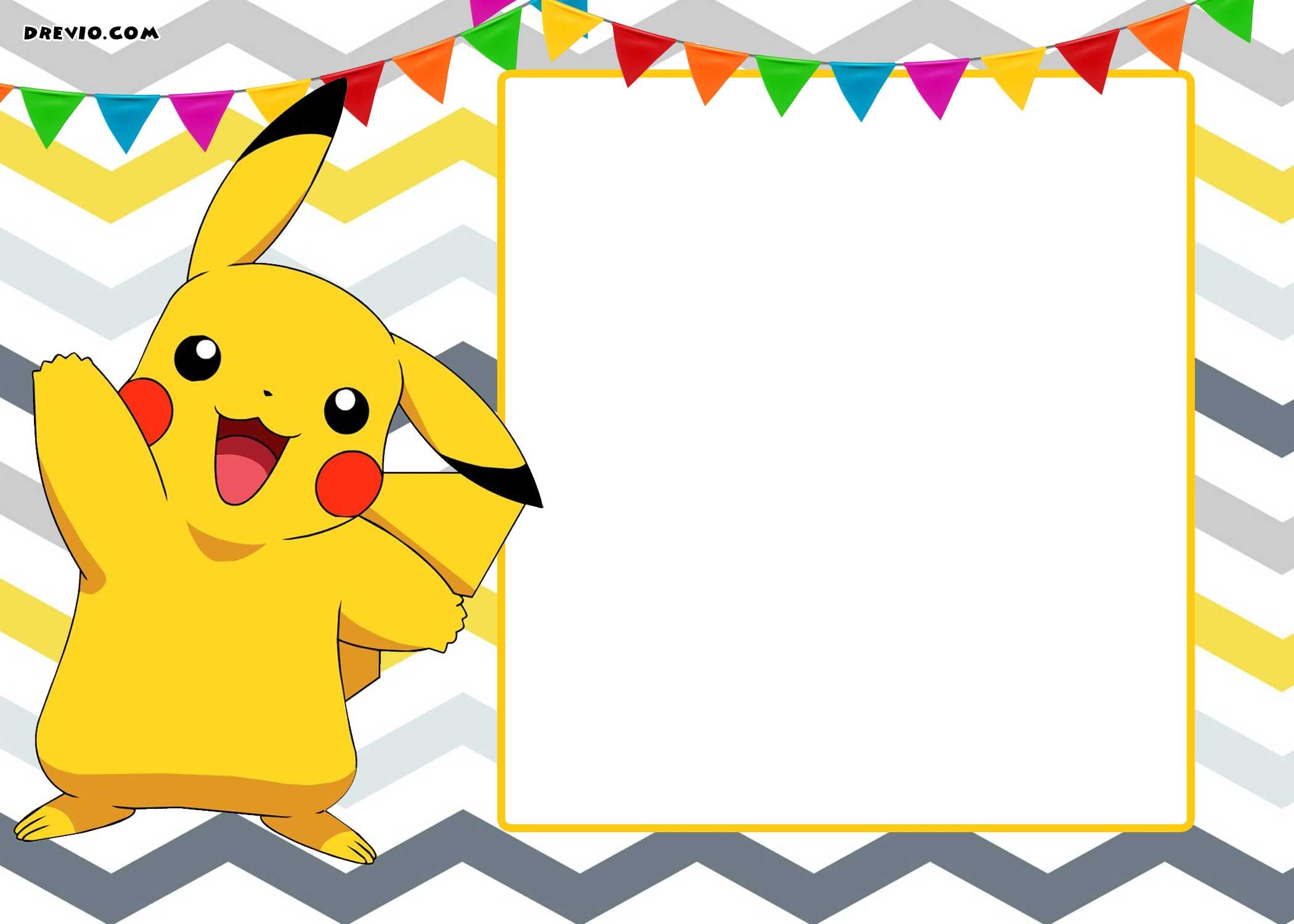 FREE Printable Pokemon Invitation Templates | Drevio Invitations ...