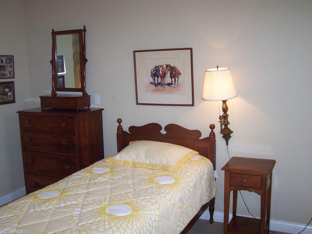 Antique Consider H Willett American Black Walnut Twin Bed