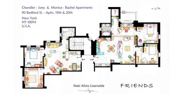 This Handmade Floorplan Represents The Apartments Of Monica Rachel And Chandler Joey From Tv Show Friends Is An Original Hand Drawed Plan In S