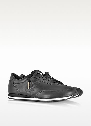 090e2efdb59a Michael Kors Stanton Active Black Leather Sneaker Black Leather Sneakers,  Michael Kors, Black Leather Trainers