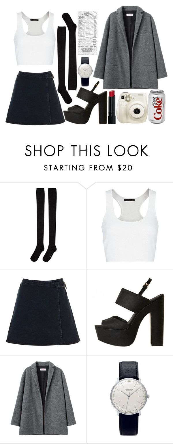 """""""gotham"""" by synthetic-diam0nds ❤ liked on Polyvore featuring Fujifilm, Hansel from Basel, MANGO, Topshop, Organic by John Patrick, Junghans and Bobbi Brown Cosmetics"""