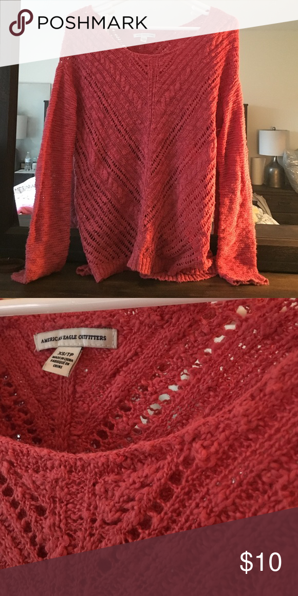 Red cute sweater Worn few times American Eagle Outfitters Sweaters Crew & Scoop Necks