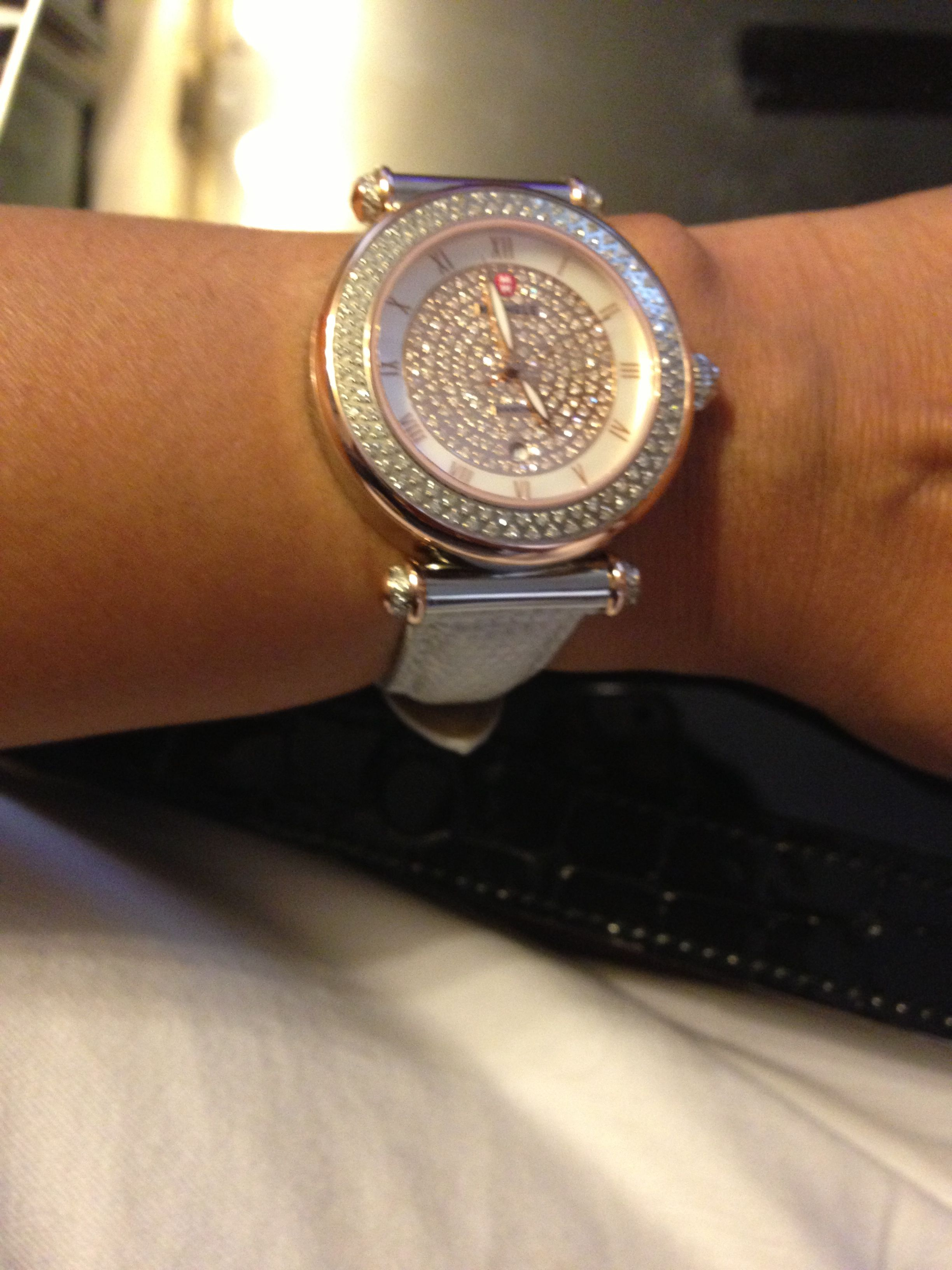 Two toned rose gold/ silver Michele round faced diamond watch...trunk show piece