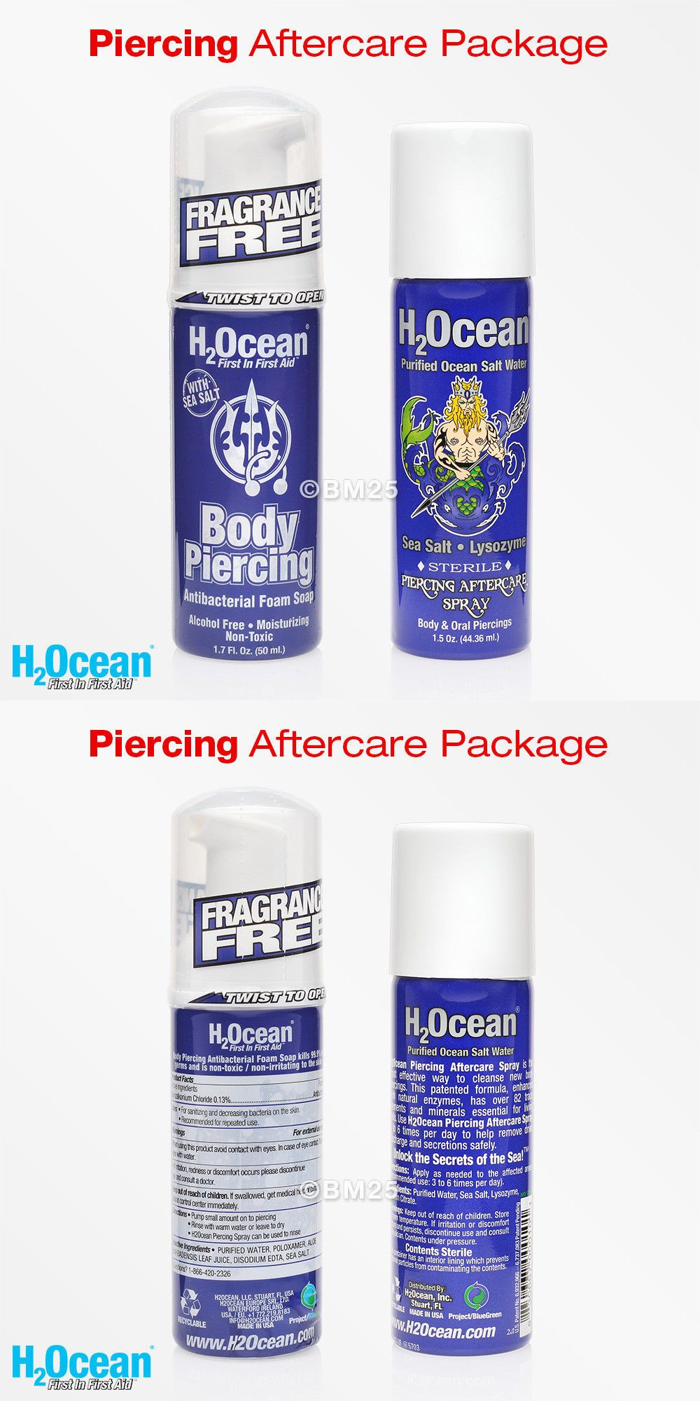 Piercing Supplies And Kits 33916 H2ocean Body Piercing Soap And