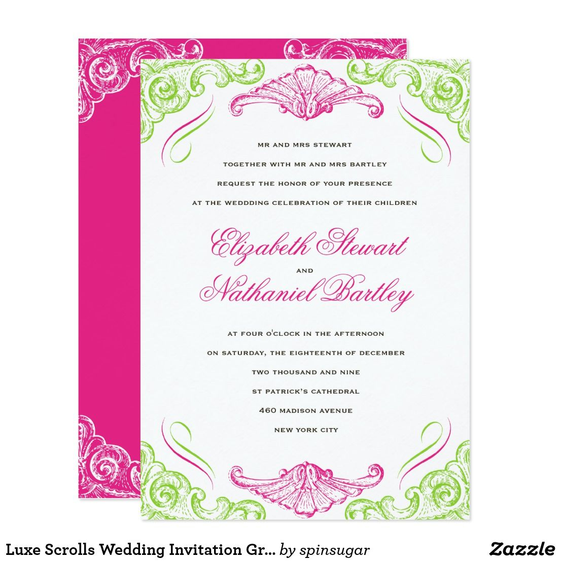 Luxe Scrolls Wedding Invitation Green Pink | Wedding Ideas, Favors ...