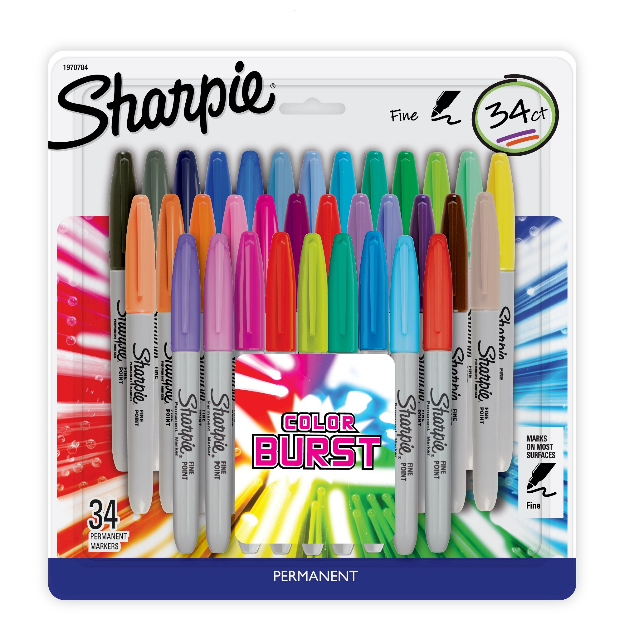 Sharpie Color Burst 34pk Permanent Markers Multicolor Ink