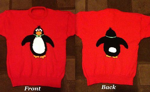 Christmas Penguin Front Back Jumper Sweater Knitting Pattern 11