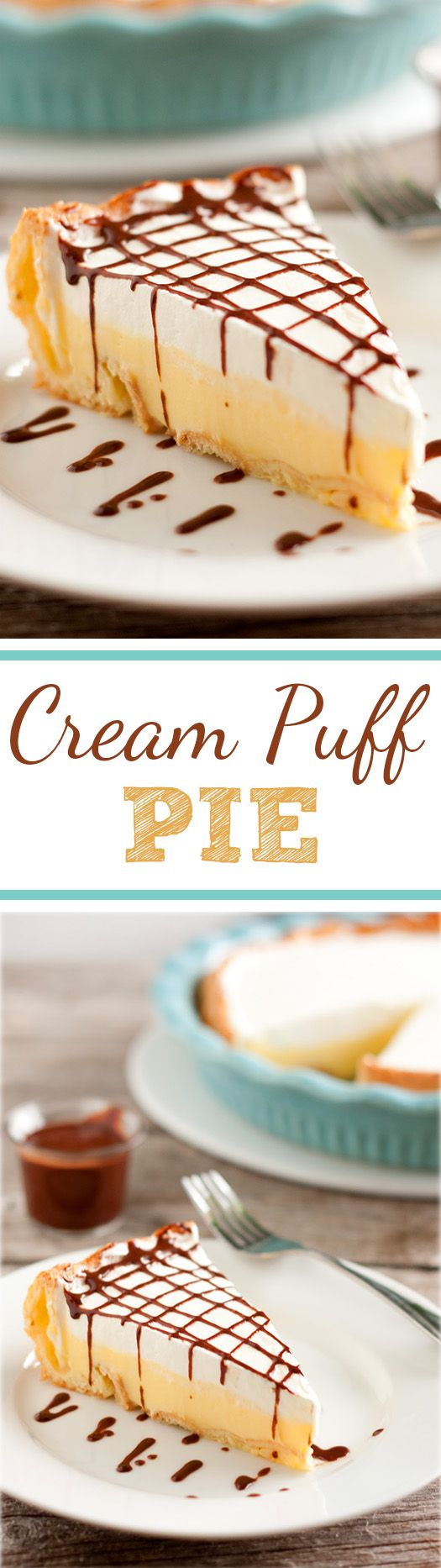Cream Puff Pie - this is the EASIEST pie you'll ever make and it tastes just like a cream puff! Everyone is always fighting for the last slice when I take it to parties!