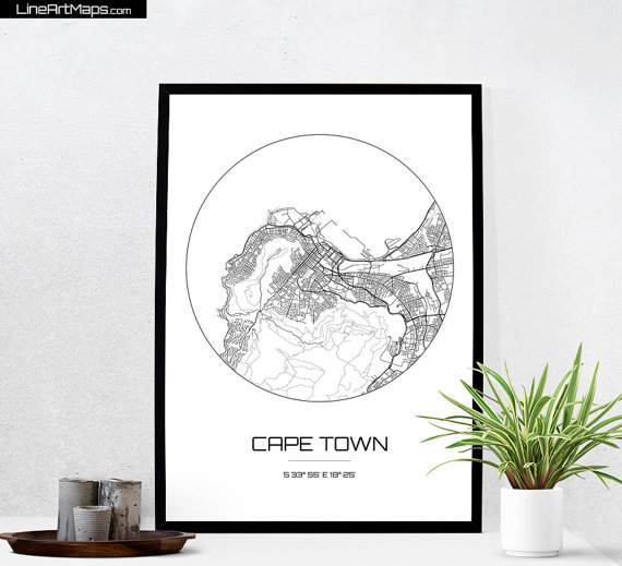 Cape Town Map Print City Map Art Of Cape Town South Africa Poster Coordinates Wall Art Gift Travel Map Office Home D Map Art City Map Art Wall Art Gift
