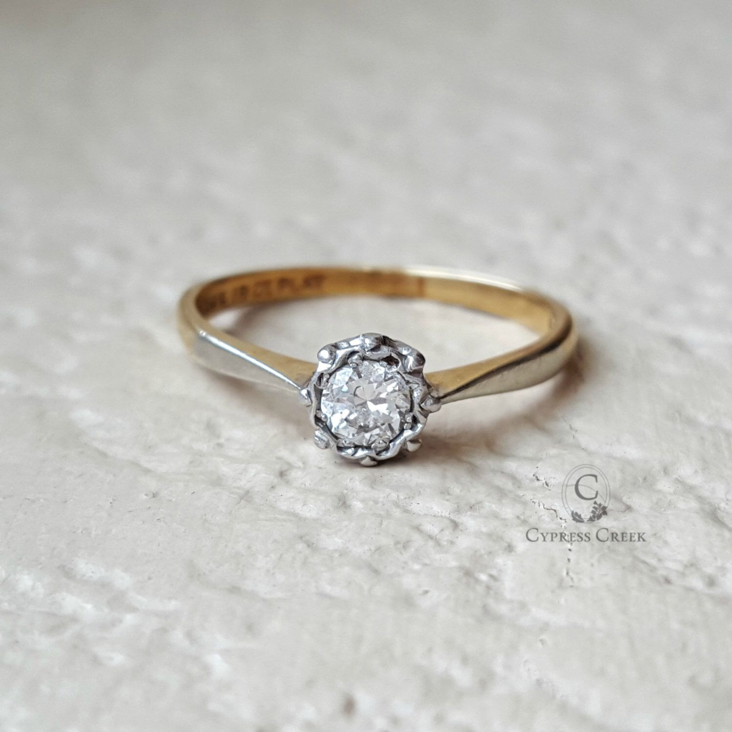 1910 Antique 35 Ct Diamond Engagement Wedding Ring With 18k Gold And Platinum Size 7