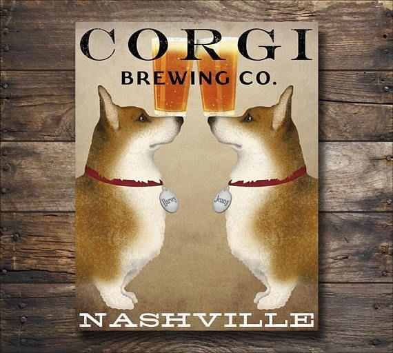 Free Customization Double Corgi Brewing Company Beer Sign Etsy Corgi Art Welsh Corgi Corgi