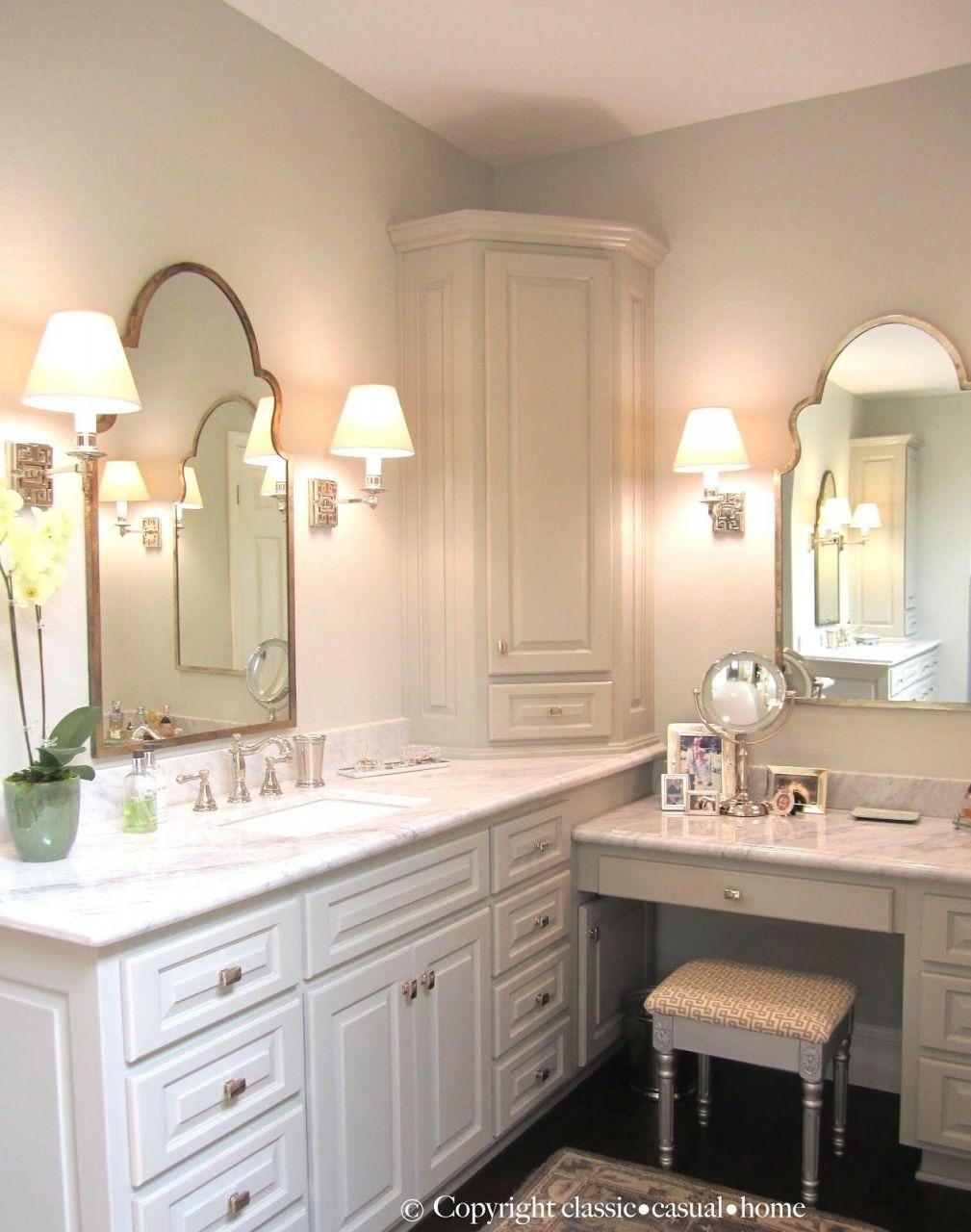 Pin By Alma Andrea Rodriguez On Renovation Bathroom With Makeup Vanity Corner Bathroom Vanity Amazing Bathrooms