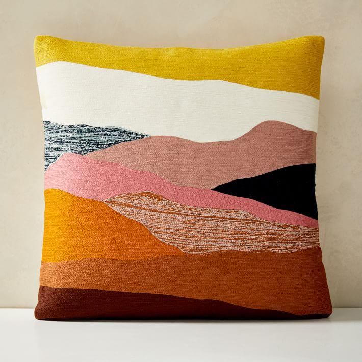 Crewel Landscape Pillow Cover