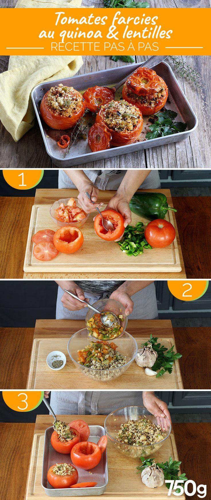Tomates farcies au Quinoa et Lentilles -