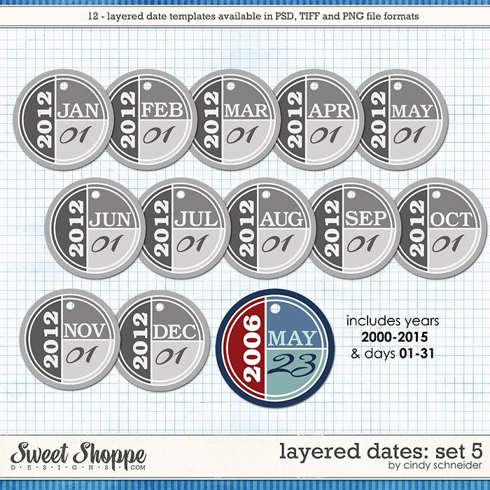 Cindy's Layered Dates: Set 5 by Cindy Schneider