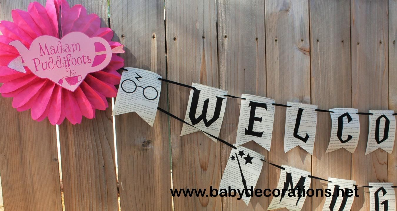 Harry Potter WELCOME WEE MUGGLE Baby Shower Banner Book Pages Harry Potter Baby Shower - http://www.babydecorations.net/harry-potter-welcome-wee-muggle-baby-shower-banner-book-pages-harry-potter-baby-shower.html