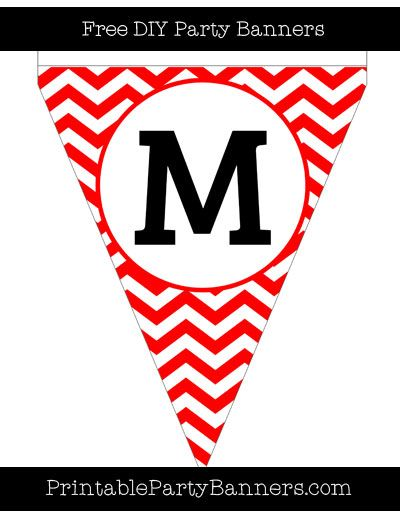 Red And White Pennant Chevron Capital Letter M Com Imagens