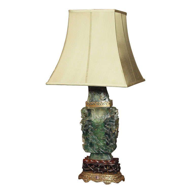 Antique Chinese Jade Quartz Lamp Quartz Lamp Lamp Jade Carving