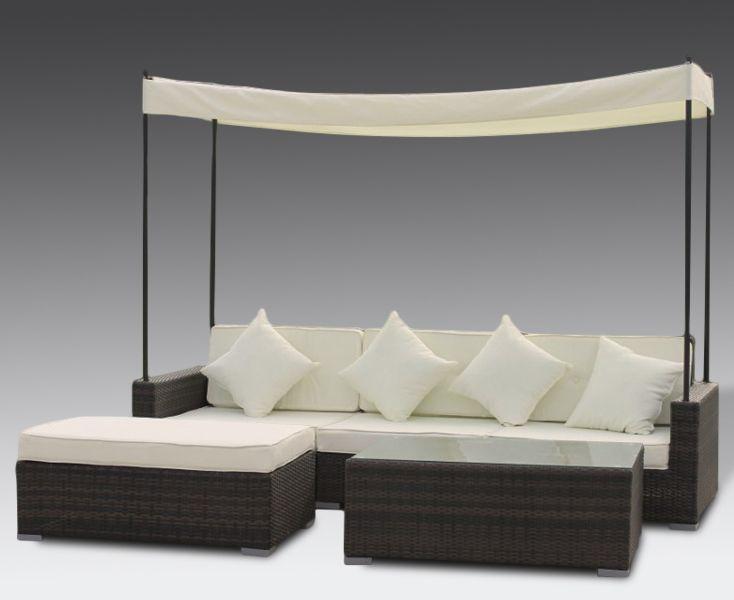 conjunto sof chaise l mesa y toldo terraza y jardin