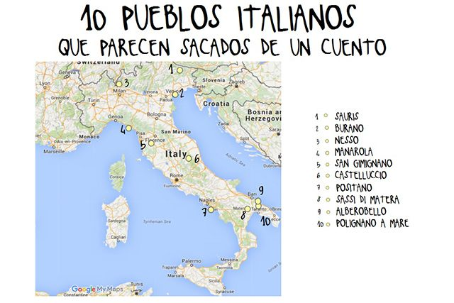 mapa pueblos italianos 640 | Viaggio | Italia y Travel