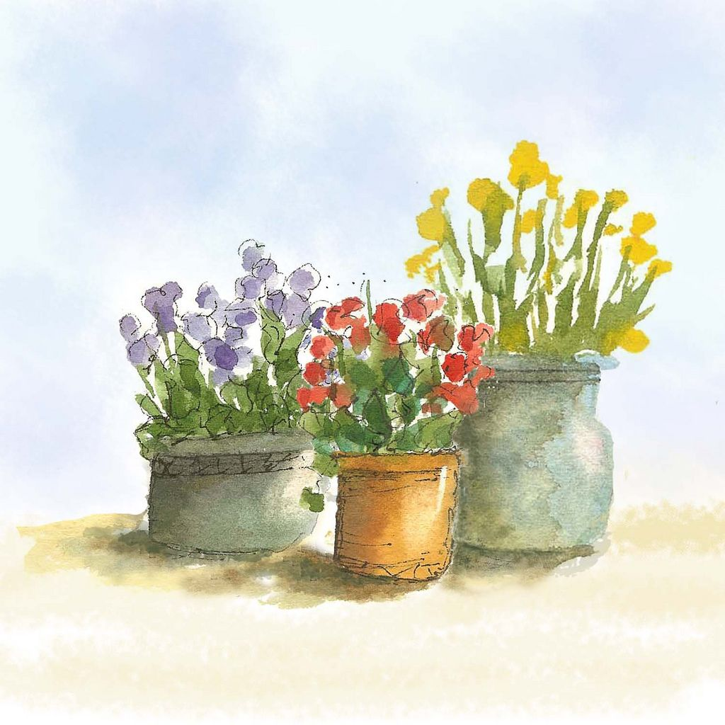 Three Pots Of Flowers In 2020 Watercolor Flowers Folk Art