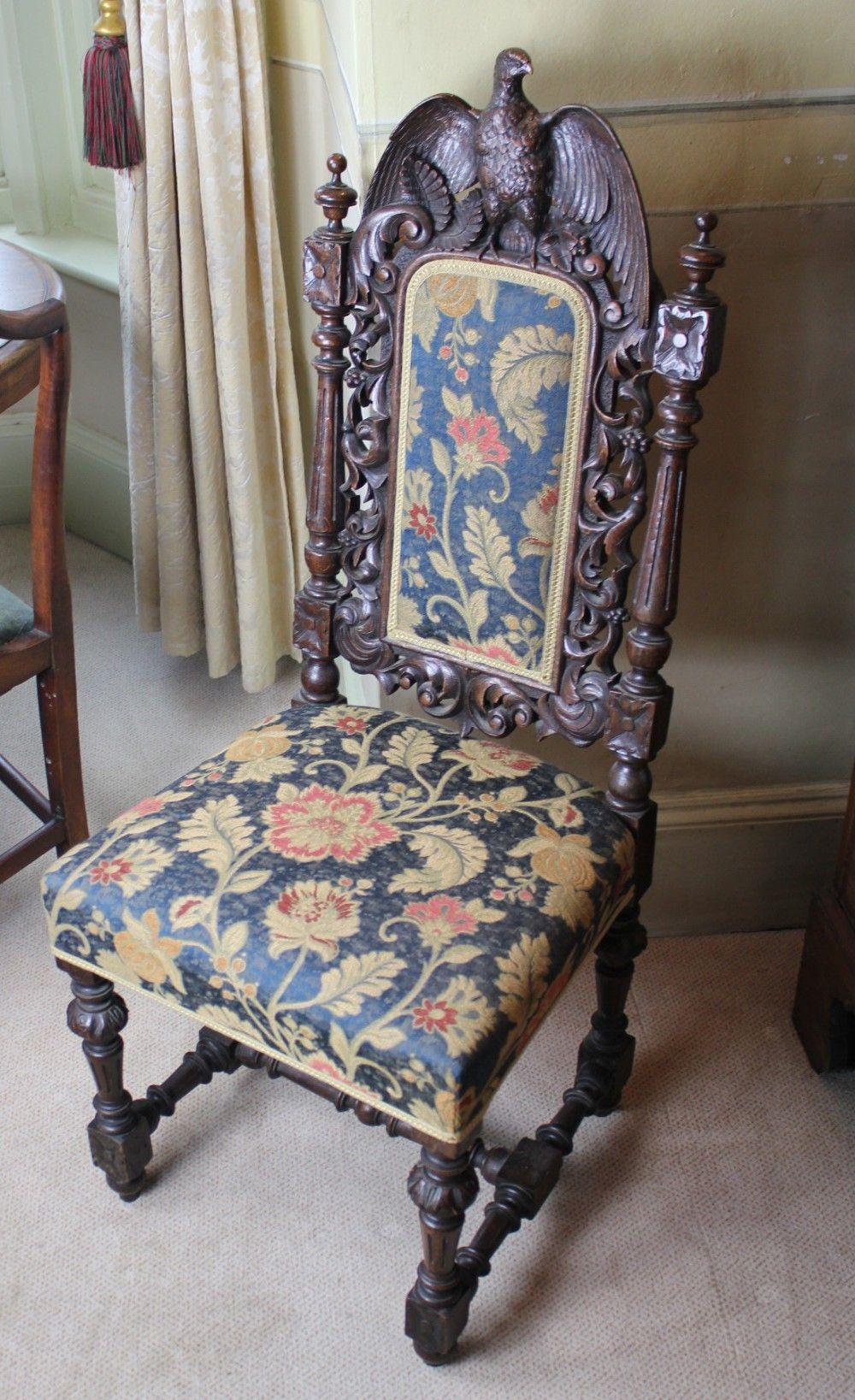 Carved bird of prey oak side chair circa 1880 chair