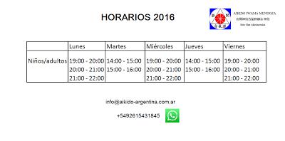 Aikido  Mendoza Iwama : Horarios 2016 - Aikido Mendoza