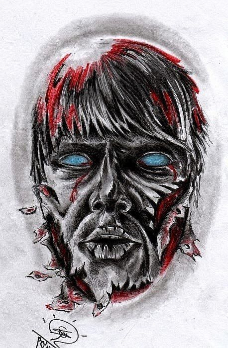 grey zombie head tattoo design | best tattoo designs | tat ideas