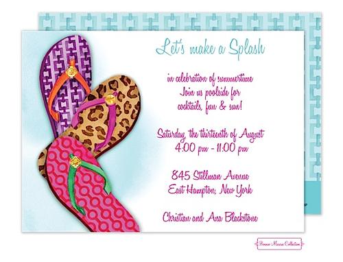 Fashionable Flip Flops Invitation Invitation design