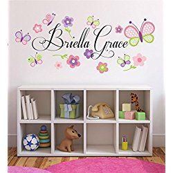 Nursery custom name wall decal sticker  by  girl girls decor personalized  also rh pinterest