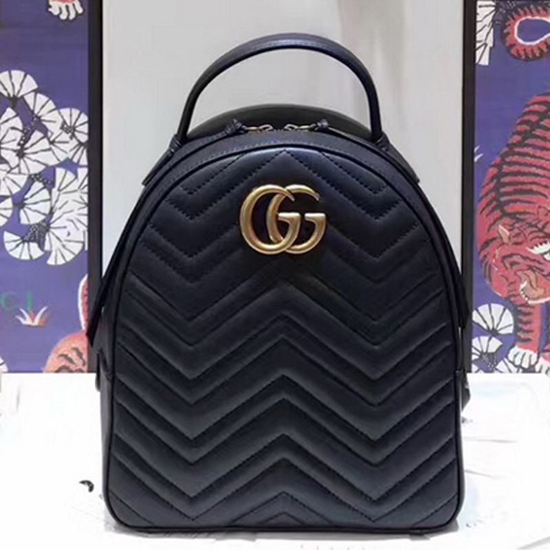 de9c959445f Gucci GG Marmont Quilted Leather Backpack 476671 Black