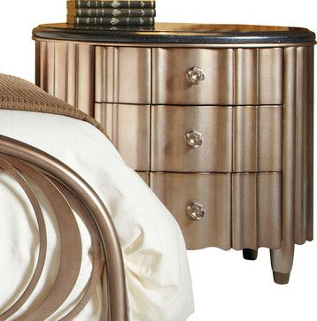American Drew Bob Mackie 3-Drawer Oval Nightstand with Granite Top