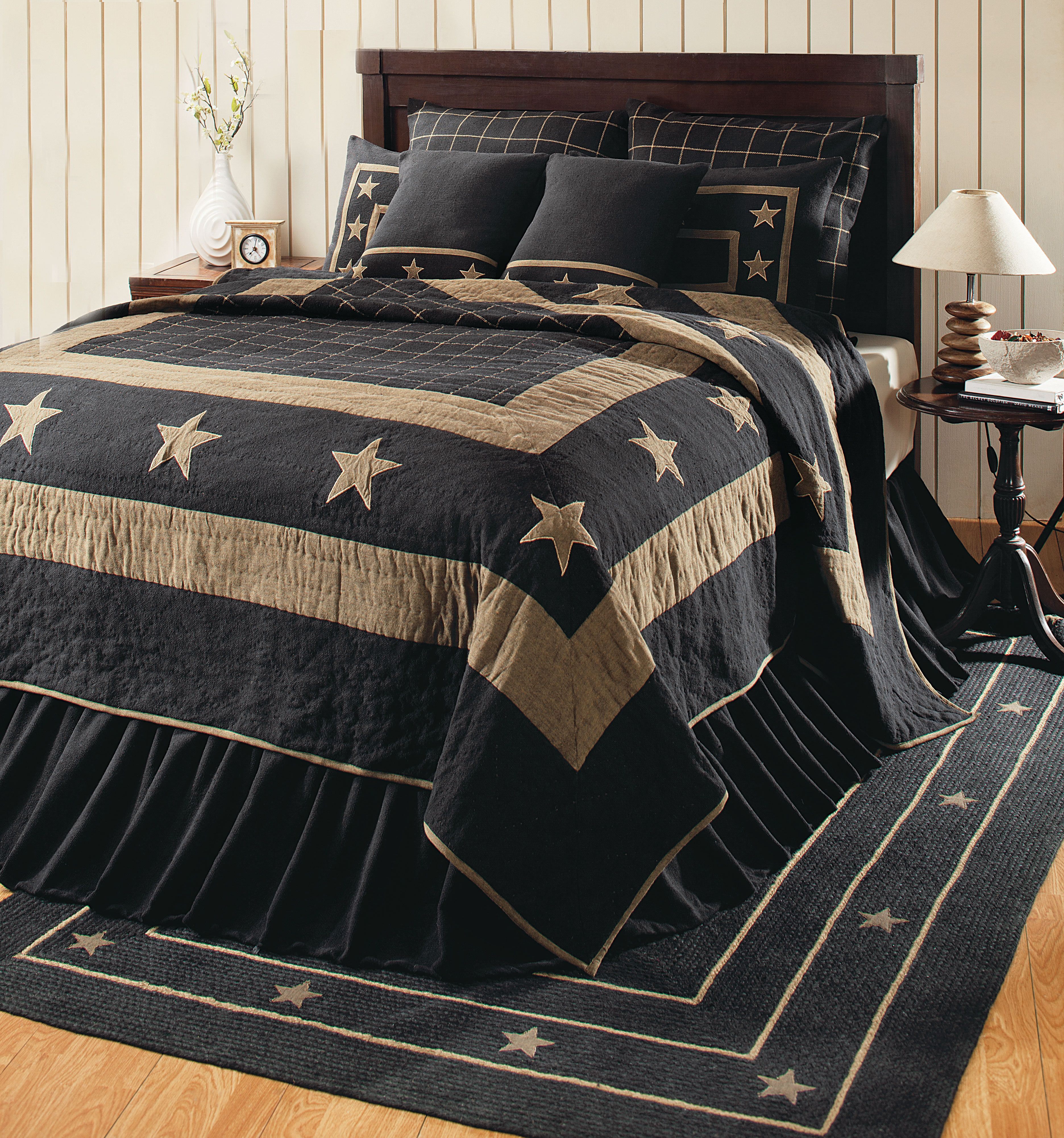 This 100 Cotton Burlap Black Star Bedding Is Available As Quilts