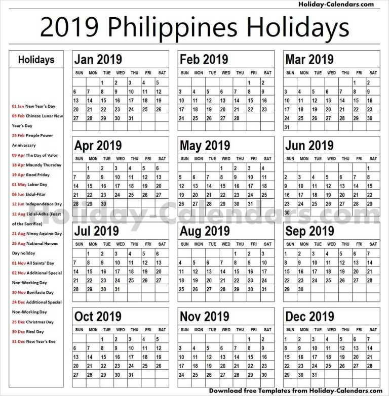 Philippines 2019 Holiday Calendar Calendar 2019 With Holidays