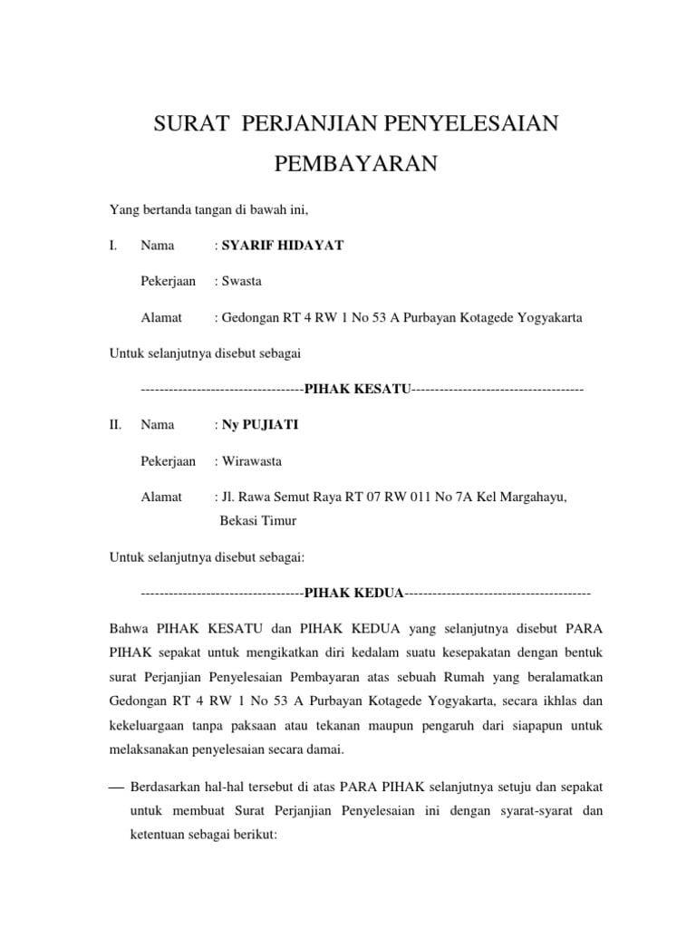 Contoh Surat Pernyataan Pembayaran Hutang | Surat, Buku ...
