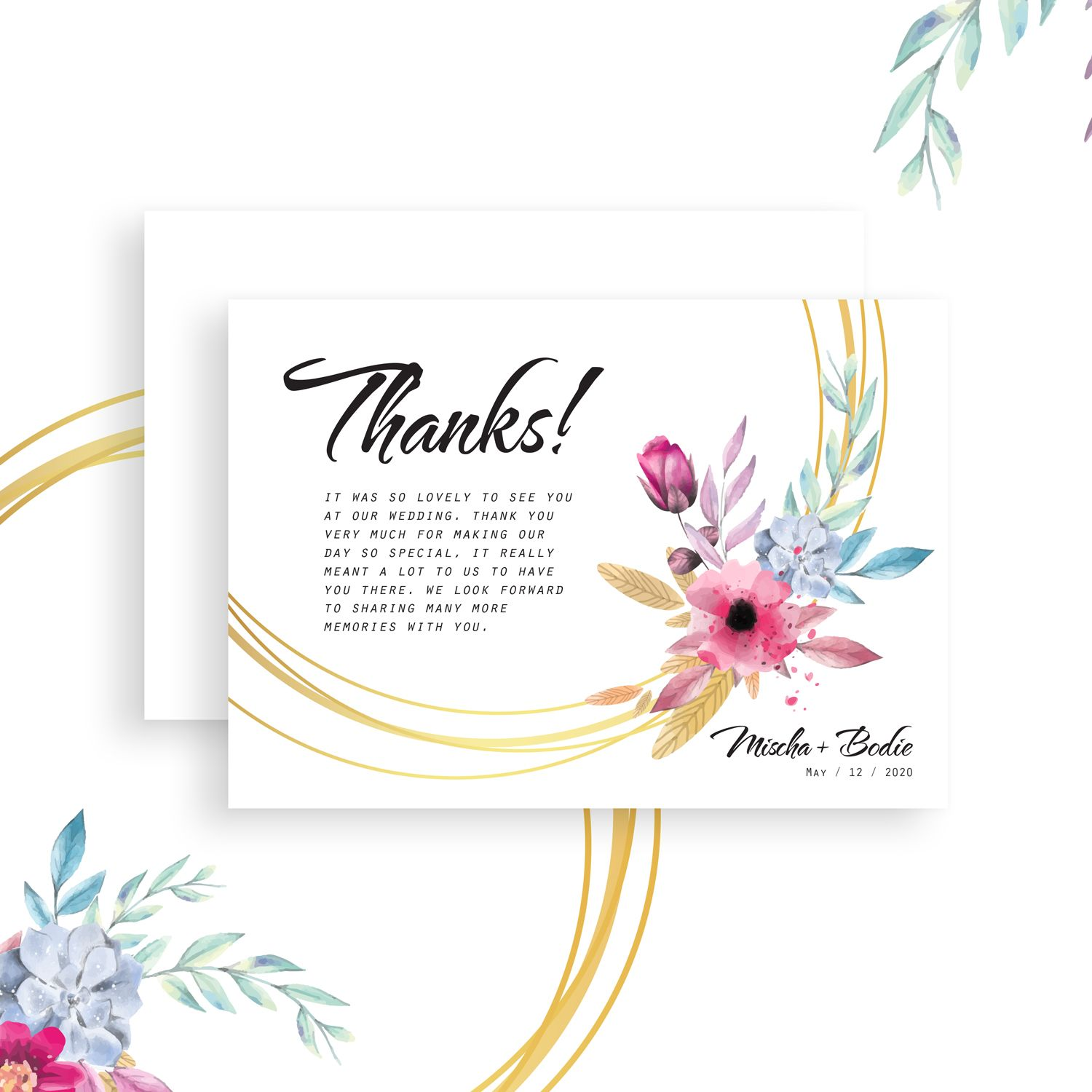 Floral boho chic thank you cards wedding thank you cards