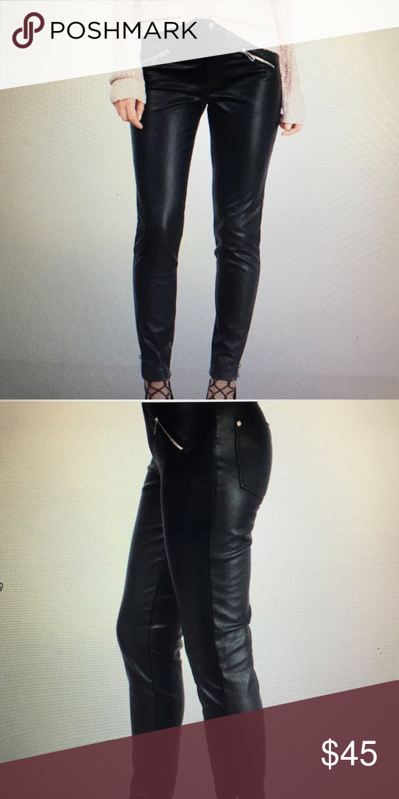 """Biker Babe"" Faux Leather Moto Pants Black Faux Leather Moto Pants Tobi Pants Skinny"