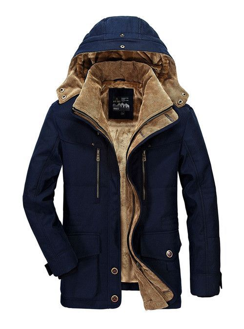pipigo Men Classic Fit Single Breasted Fleece Lined Stand Collar Winter Parkas Jacket