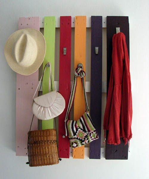 diy-coat-rack-recycling-wood-pallet how clever and thrifty! and colourful too.