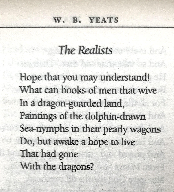 William butler yeats the realists words pinterest deep