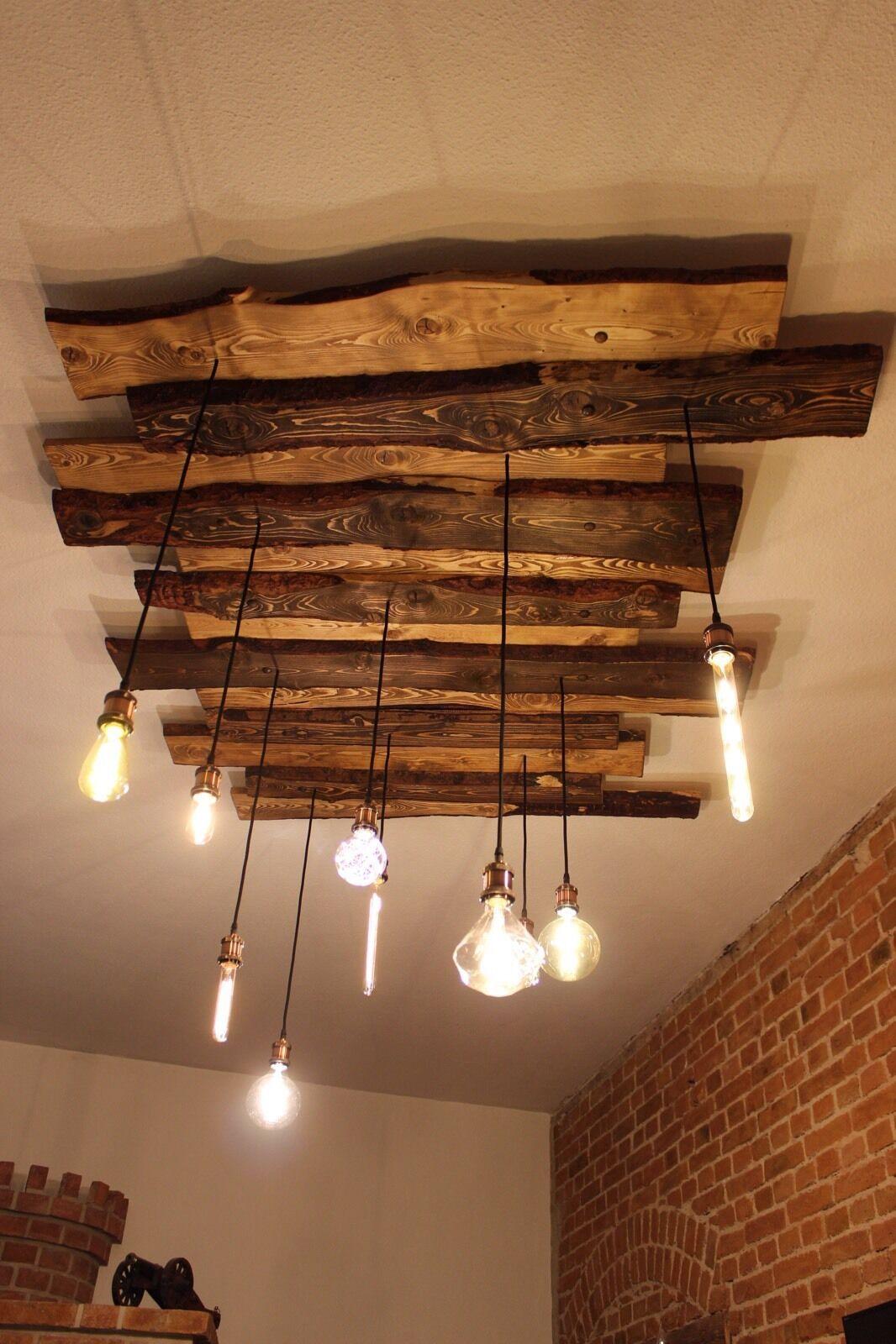 Deckenlampe Holz Rustikal Vintage Mit Edison Globe Nostalgie